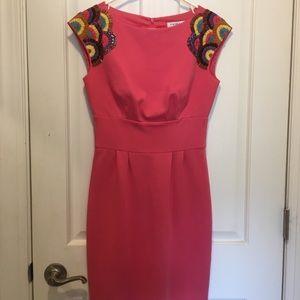 Trina Turk Pink Embroidered Shoulder Dress